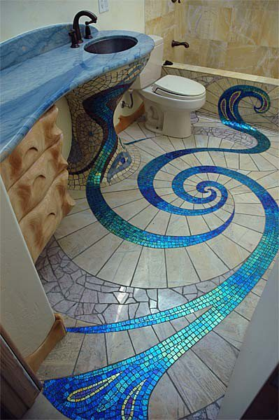 Mosaic bathroom floor